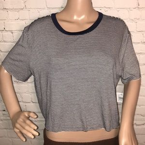 Project Social T crop short sleeve stripe NWT L